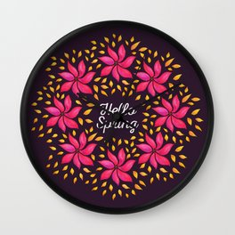 Hello Spring Watercolor Flowers Wreath Wall Clock