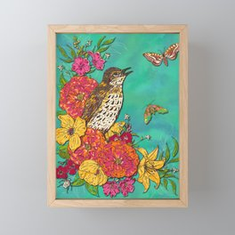 Floral Song Thrush Framed Mini Art Print