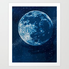 Big Blue Moon Art Print