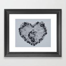 Blue Bird Heart Framed Art Print