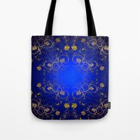 floral pattern Tote Bags featuring Floral Pattern by Looly Elzayat