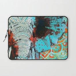 Indian Sketch Elephant Blue Orange Laptop Sleeve