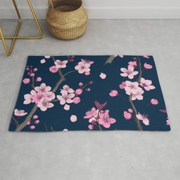 Watercolor Japanese sakura flowers paint on dark background vintage illustration pattern Rug