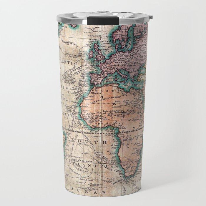 vintage world map 1801 travel mug by mapmaker society6