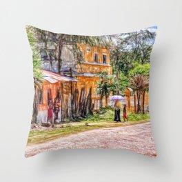 Village scene in Guatemala Throw Pillow