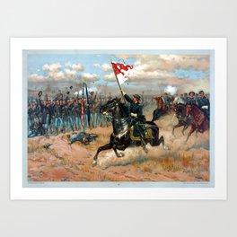 Vintage Lithograph of Sheridan's Ride Civil War Battle Art Print