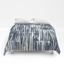 Simply Bamboo Brushstroke Indigo Blue on Lunar Gray Comforters