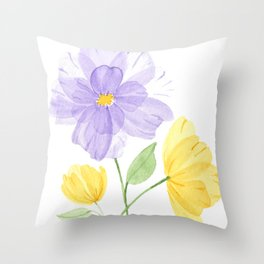 Overlapping Purple and Yellow Flowers Throw Pillow