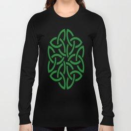 Shamrock Celtic Art Knotwork Design Long Sleeve T-shirt