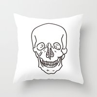 skeleton Throw Pillows featuring Skeleton by FACTORIE