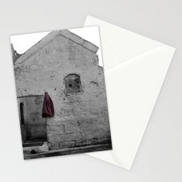 Sassi di Matera with red jacket Stationery Cards