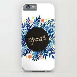 Thank you flowers and branches - blue and orange iPhone Case
