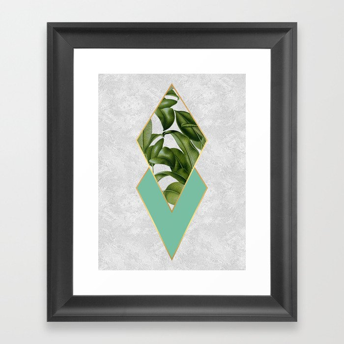 Leaves on marble Framed Art Print