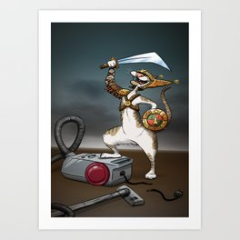 The final battle - Cat vs Vacuum cleaner Art Print