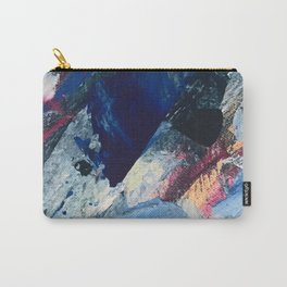 Flourish [1]: a vibrant abstract mixed-media piece in blues, magenta, and gold Carry-All Pouch