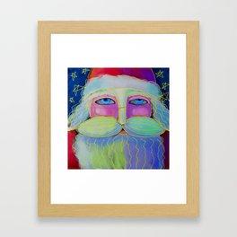 Psychedelic Santa Abstract Digital Painting  Framed Art Print