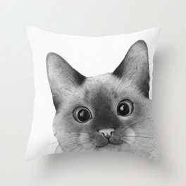 Siamese sneak-a-peek Throw Pillow