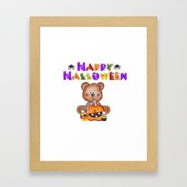 My Teddy Loves Halloween Framed Art Print