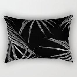 Silver Gray Black Palm Leaves Dream #1 #tropical #decor #art #society6 Rectangular Pillow