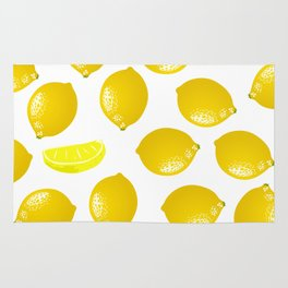 Lemon Pattern Home Decor Wall Hanging Art Print Modern Graphic Design Yellow White Interior Rug