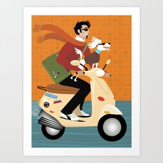 Scooter Pooch Art Print