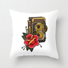 Retro analog camera floral decoration Throw Pillow