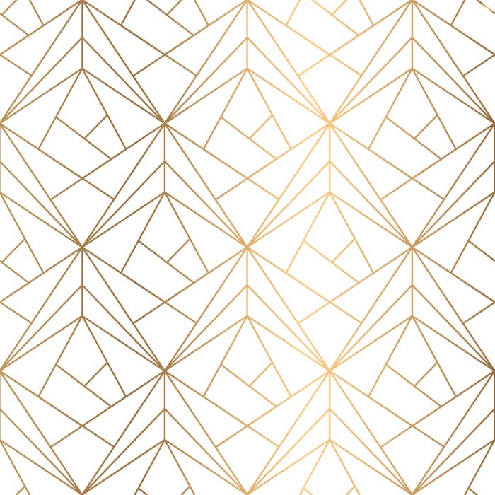 Geometric Gold Pattern With White Shimmer Bettbezug