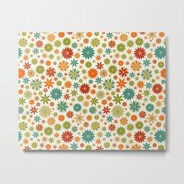 Flower Field Bright Colors on Eggshell Metal Print