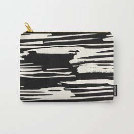 Modern Tribal Stripe Ivory and Black Carry-All Pouch