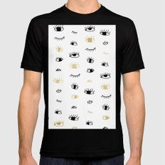 Funny fashion gold and black cute eyes pattern  Mens Fitted Tee Black MEDIUM