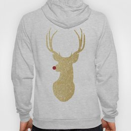 Rudolph The Red-Nosed Reindeer | Gold Glitter Hoody