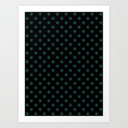 Turquoise on Black Snowflakes Art Print