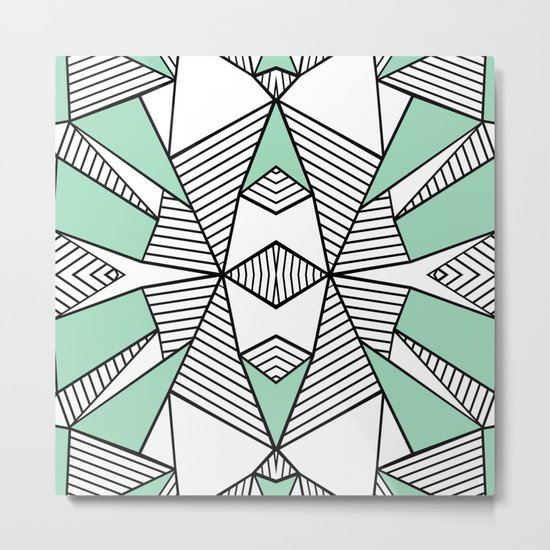 Triangle Tribal Mint Metal Print