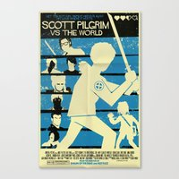 scott pilgrim Canvas Prints featuring Scott Pilgrim Vs The World by Mark Welser