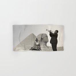 Louis Armstrong at the Spinx and Egyptian Pyrimids Vintage black and white photography / photographs Hand & Bath Towel