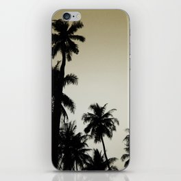 Tropical palm trees on yellow iPhone Skin