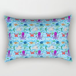 under the sea, whale, octopus, crab, fish, ocean, water,pattern,jellyfish Rectangular Pillow