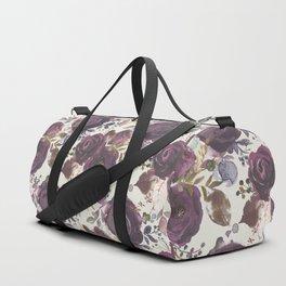 Pastel burgundy violet pink watercolor roses floral Duffle Bag