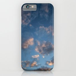 Blue sky with isolated clouds during sunset. iPhone Case