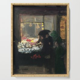 'Easter Eve Washington Square, NY floral flower seller portrait by John French Sloan Serving Tray