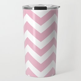 Cameo pink - pink color - Zigzag Chevron Pattern Travel Mug