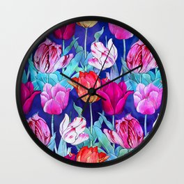 Tulips field Wall Clock