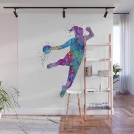 Handball Girl Colorful Watercolor Sports Art Wall Mural