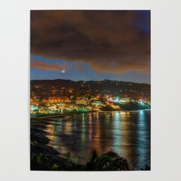 Moonrise Over Main Beach Poster