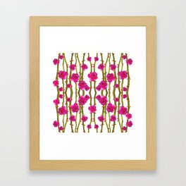 "FUCHSIA PINK ""ROSES & THORNS"" WHITE ART Framed Art Print"