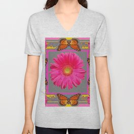 Pink Gerbera Flowers Orange Butterflies Grey Patterns Unisex V-Neck