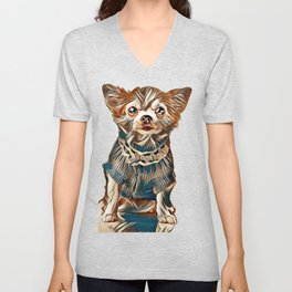 Chihuahua dog wearing knitted blue jumper with lace sitting isolated on white background         - I Unisex V-Neck