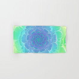 Romantic blue and green flower, digital abstracts Hand & Bath Towel
