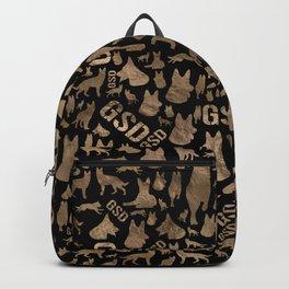 German Shepherd Dog GSD - gold on black Backpack