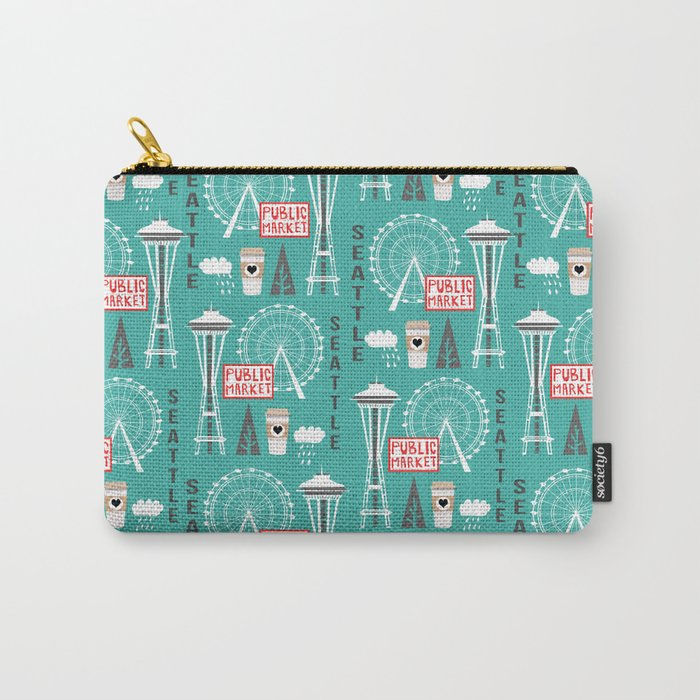 Seattle travel art cute decor for nursery kids room pattern girls or boys Carry-All Pouch